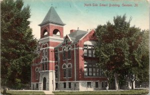 Geneseo Illinois~North Side School Building~Large Trees~1910 Postcard
