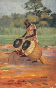 Ghana Gold Coast Ashanti Drummer with Talking Drums Postcard