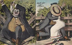 Fat Man Crashing Park Bench Antique Postcard