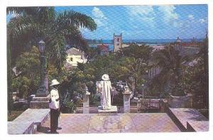 View from Government House showing Sentry and Statue of Columbus, Nassau, Bah...