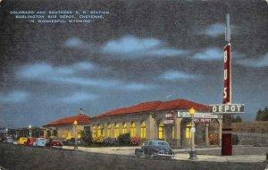 Colorado & Southern RR Station Burlington Bus Depot Cheyenne WY Vintage Postcard