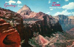 Zion National Park, Utah, UT, Mt. Carmel Highway, Chrome Vintage Postcard g9265