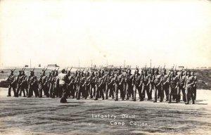 RPPC CAMP CALLAN Army Infantry Drill, La Jolla, CA WWII Military c1940s Postcard
