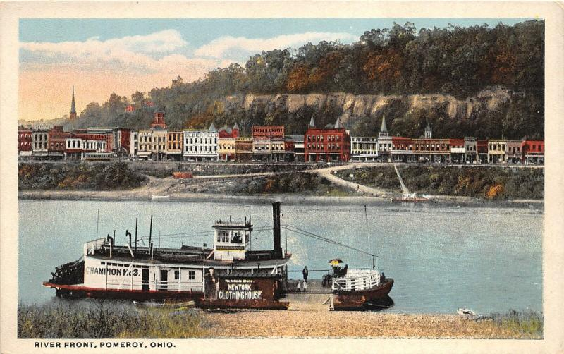 F28/ Pomeroy Ohio Postcard Meigs County  c1910 River Front Steamer 6