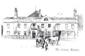 Postcard Art Sketch The Crown Inn, Bawtry, Near Doncaster by Herbert Railton B95