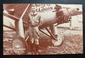 Mint USA Real Picture Postcard Early Aviation Lindbergh And His Famous Plane