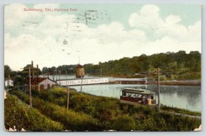 Galesburg Illinois~Highland Park~Trolley Along River~1909 Postcard
