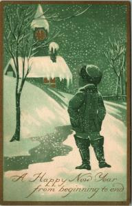 New Year~ART DECO~Silhouette Boy on Path~Gold Midnight Clock Tower~Gibson Art