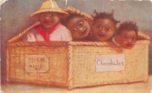E29/ Black Americana Postcard c1910 Children Box of Chocolates 1