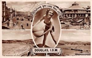 Douglas Isle of Man Beach Multiview  Bathing Beauty Real Photo Postcard J50175