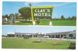 Glasgow Delaware DE US Route 40 Clays Motel Vintage Postcard