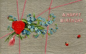 Greeting - Birthday. Embossed, Silver Foil