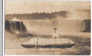 Bobby Leach & His Barrel PPC After Going Over Niagara Falls in 1911, 1912 PMK