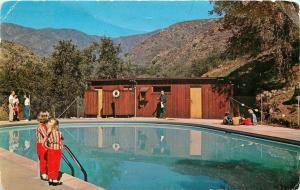San Juan Capistrano CA~Lazy W Ranch Swimming Pool~Twin Outfit Kids~1967 Postcard