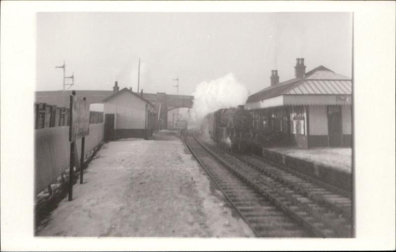 unknown train station train railway railroad real photograph