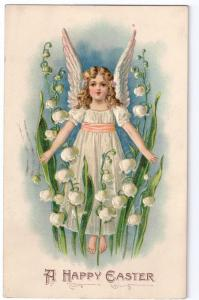 Easter Angel Lily of Valley Embossed 1909 Phila Flag Cancel