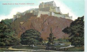 Edinburgh UK~Castle Rock & Ross Fountain 1910
