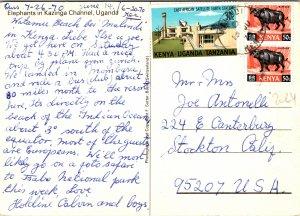Elephants in Kazinga Channel Uganda Postcard used 1970 from Kenya