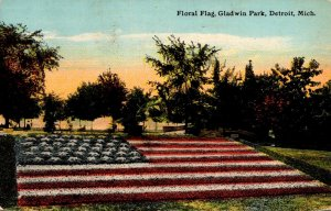 Michigan Detroit Gladwin Park Floral Flag 1911 Curteich