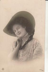 Lovely young lady portrait fancy hat early postcard