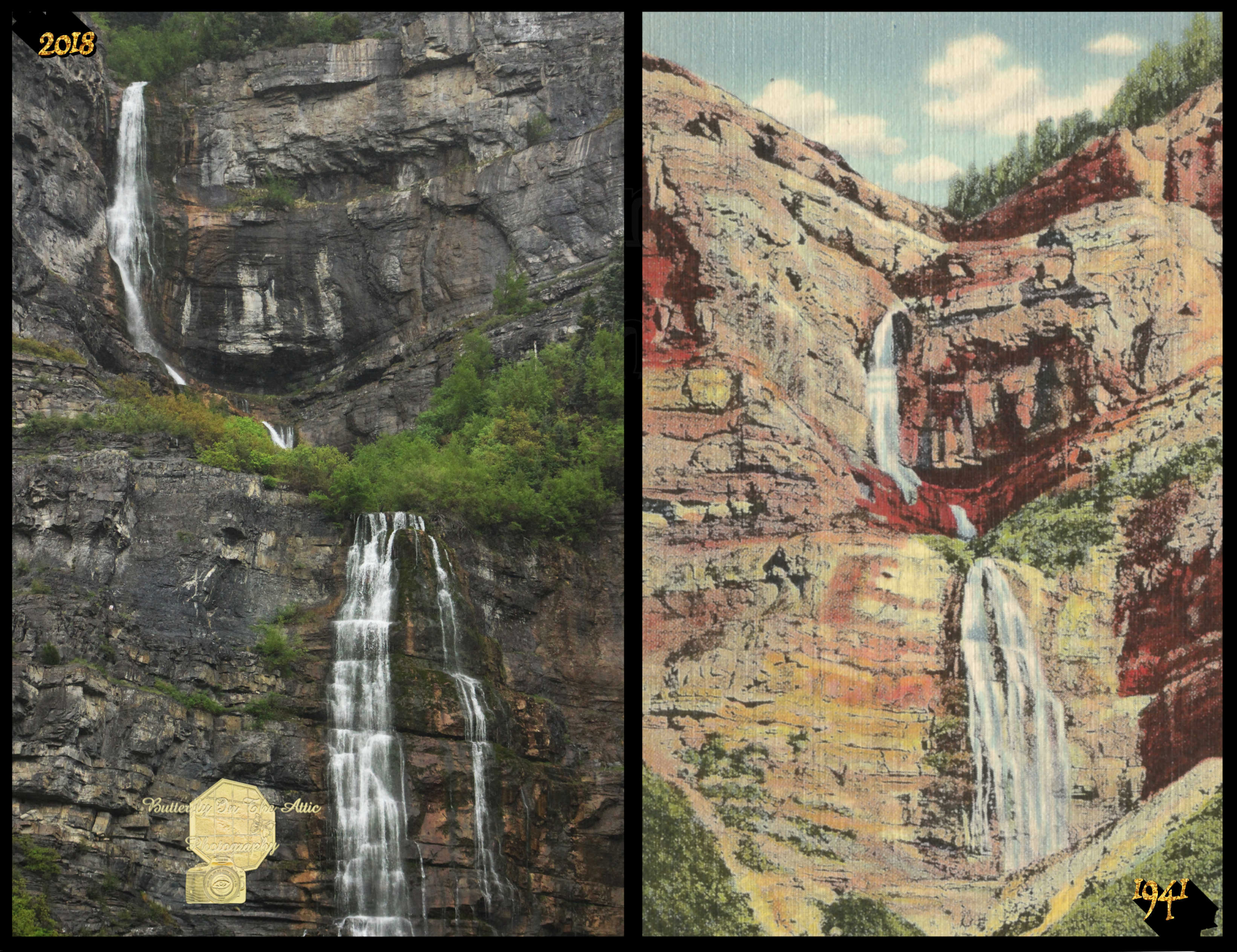 A Fun Look at Bridal Veil Falls Provo Canyon Utah Now '18 vs Then '41, SET OF 6