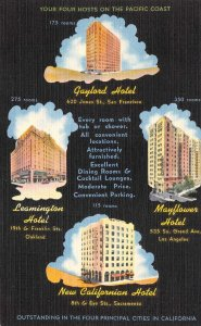 Gaylord/Mayflower/Leamington Hotels SAN FRANCISCO c1940s Vintage Linen Postcard