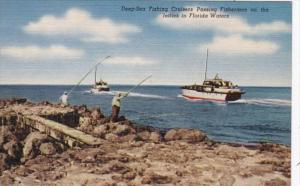 Florida Fishing Deep Sea Fishing Cruisers Passing Fishermen On The Jetties In...