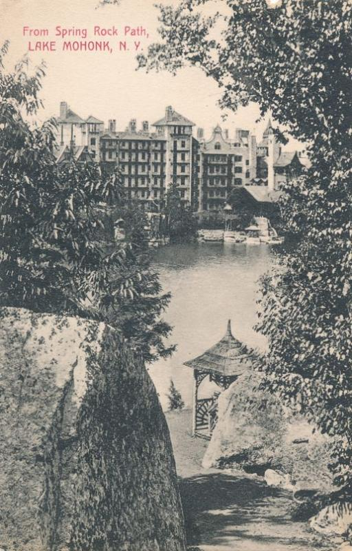 Lake Mohonk NY, New York - Resort Hotel from Spring Rock Path - pm 1911 - DB