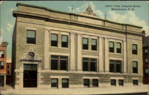 Manchester NH Joliet Club Concord St. c1910 Postcard