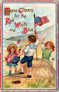 1909 FOURTH OF JULY Patriotic Postcard Children / U.S. Flags Three Cheers