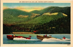 Speed Boats on Lake Lure, Western NC Vintage Postcard T14