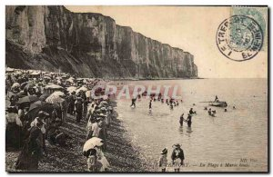 Treport - The Beach at high tide - Old Postcard