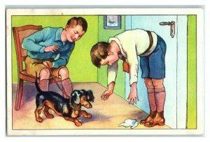 Pick Up the Hankerchief, Funny Experiments Echte Wagner German Trade Card *VT31S