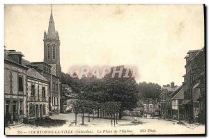 Old Postcard Courtonne Town Square of The Church