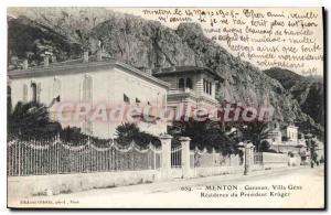 Old Postcard Menton Garavan Villa Gena Residence Du President Kruger