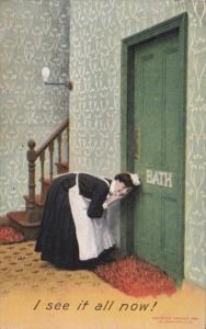 Bamforth Humour Maid Peeking Through Bathroom Door Keyhole I See It All Now 1912