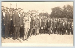 Columbus NE OJ Fennel Photo~Group of Men Gathered~Notes in Pockets~c1920 RPPC