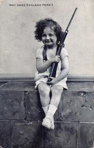 YOUNG BOY W/ PLAY RIFLE~WHY NEED ENGLAND FEAR?~DUOTYPE PHOTOCHROM POSTCARD 1915
