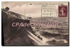 Old Postcard Villers sur Mer La Digue in heavy weather