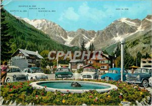 Postcard Modern Macugnaga 1327 m Place of City Hotel In The Background The Mo...