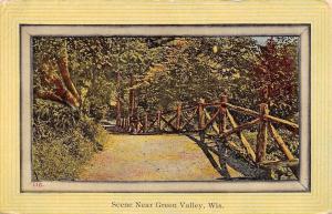 Green Valley Wisconsin~Trail Scene~Rustic Railing 1912 Nice Border Postcard