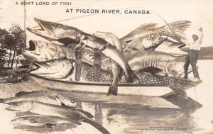 Boat Load of Fish at Pigeon River Ontario~Exaggerated Northern Pike~1926 RPPC