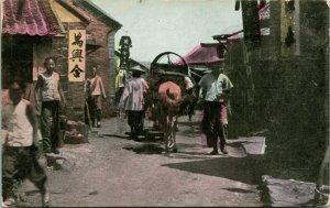 Vtg Postcard 1910s Chefoo, China Street Scene Hand Tinted Unused