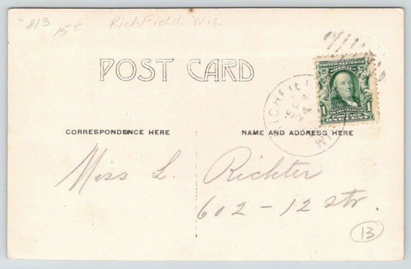 Richfield Wisconsin~Homes & Church Across Field~Ed Mueller Photo~1908 RPPC