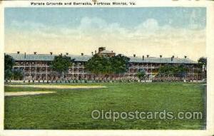 Fortress Monroe, VA, USA Postcard Post Card Parade Grounds & Barracks