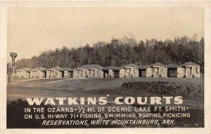 G77/ Mountainburg Arkansas RPPC Postcard c40s Watkins Courts Ft Smith