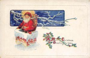 F23/ Santa Claus Merry Christmas Postcard c1910 Chimney Toys 10