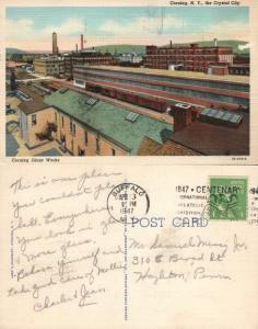 CORNING GLASS WORKS N.Y. 1947 VINTAGE POSTCARD