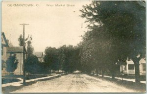1912 GERMANTOWN, Ohio RPPC Real Photo Postcard West Market Street Houses