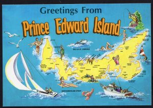 PEI MAP Greetings from Prince Edward Island - camping and picnic areas - Cont'l